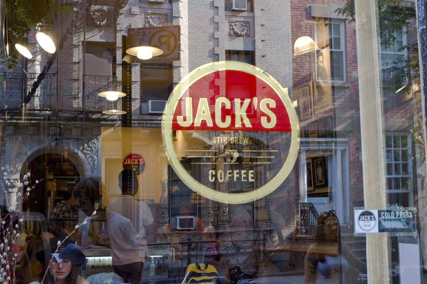 Exterior window of Jack's Coffee shop