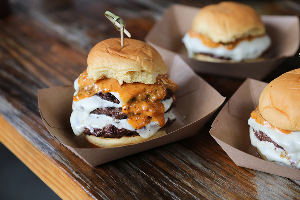 Slider burgers at Pig Beach
