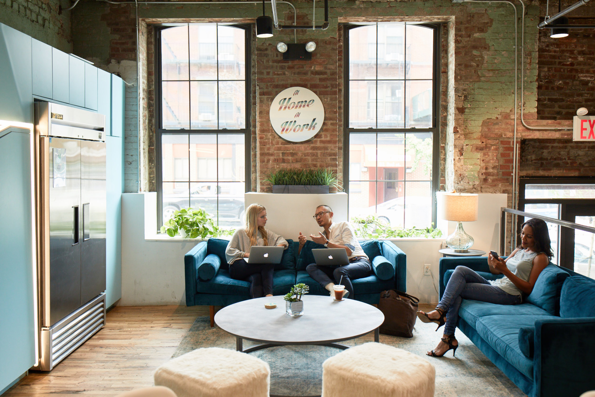 Business professionals collaborating in a shared office space