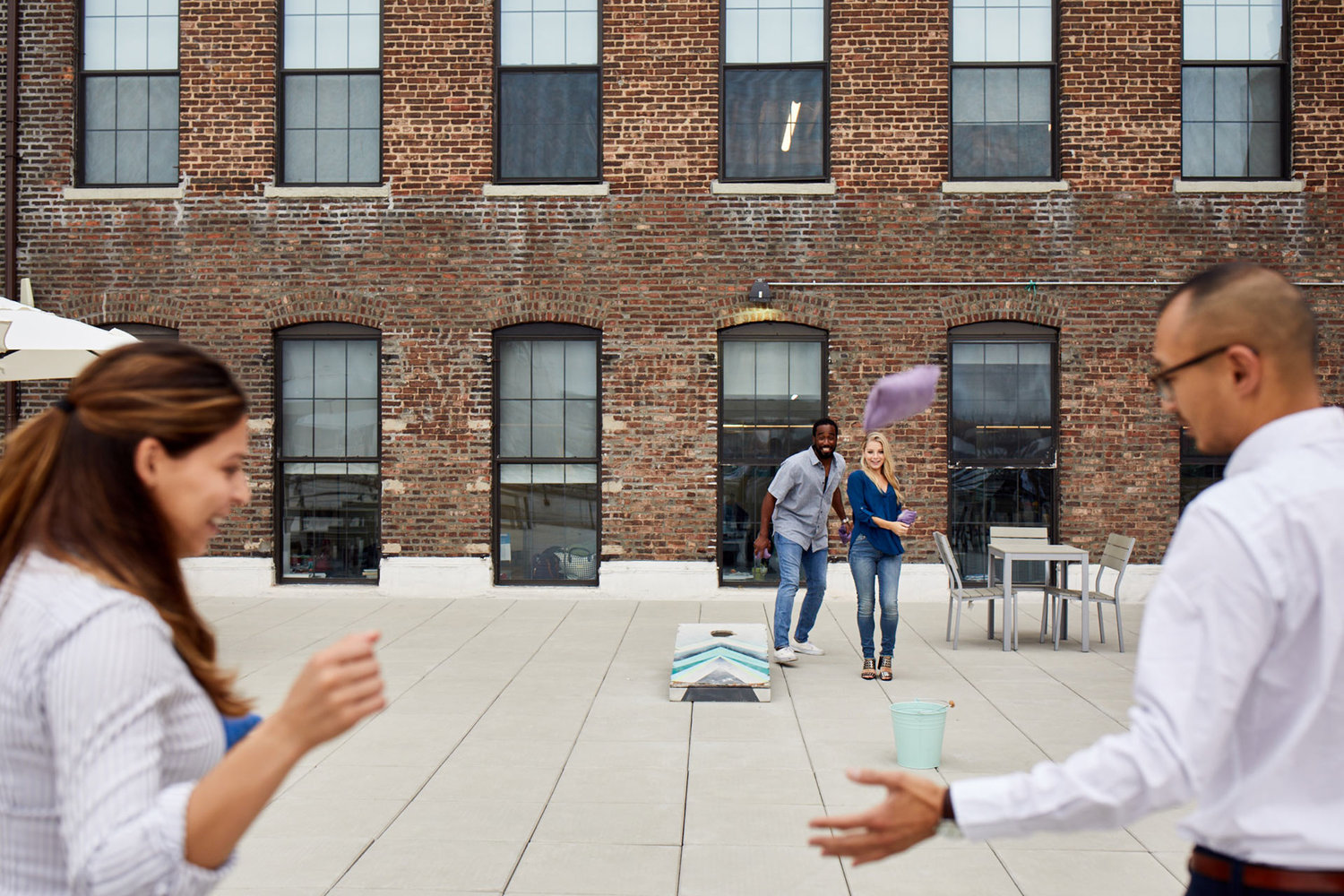 Rooftop socialization area for employees