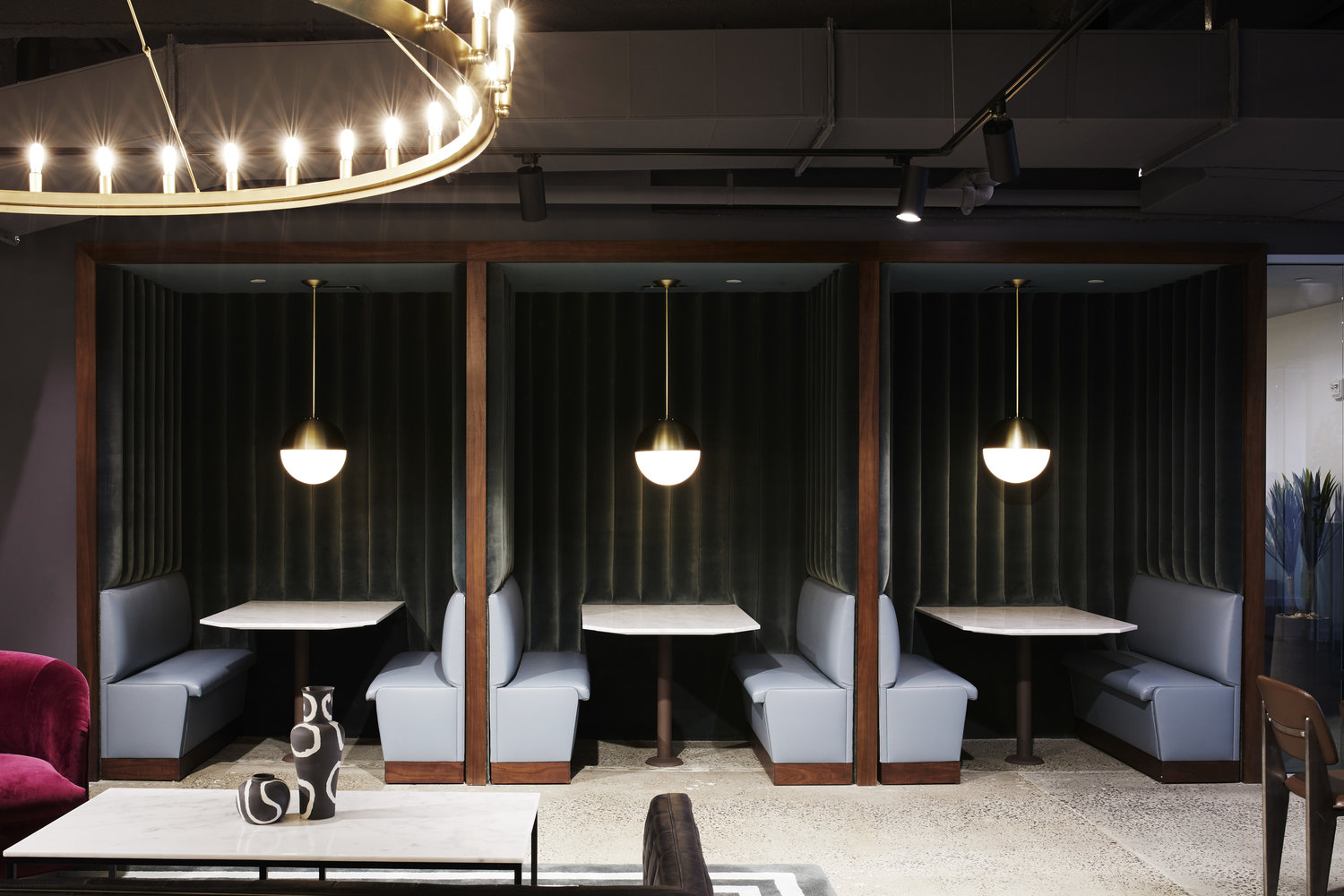 Semi-private tables in a modern office space