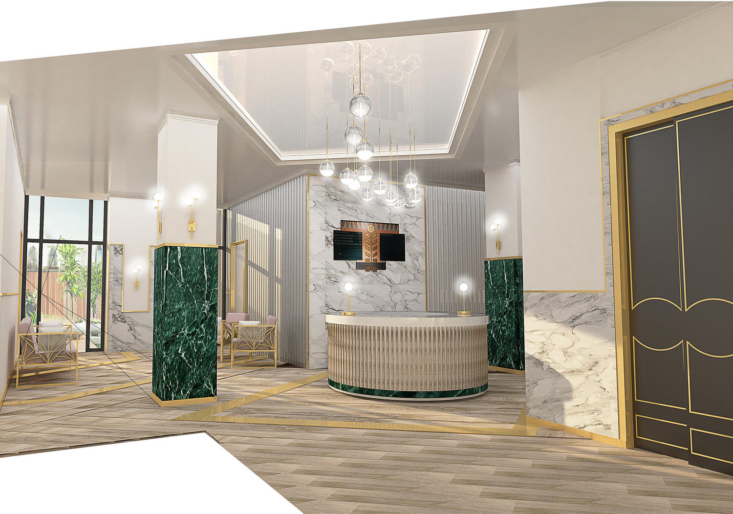 open reception area with green and white marbling