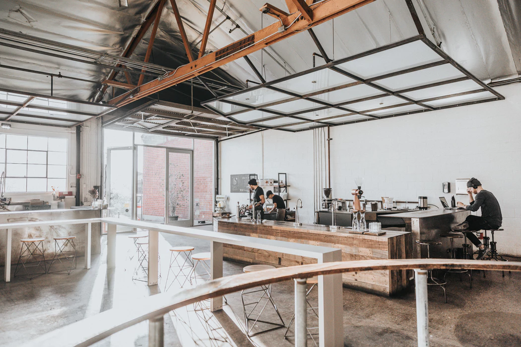 inside of open and airy shared workspace