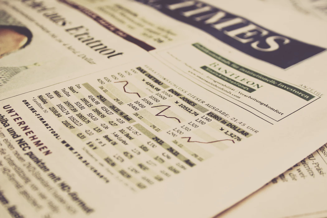 business and stock section of a newspaper