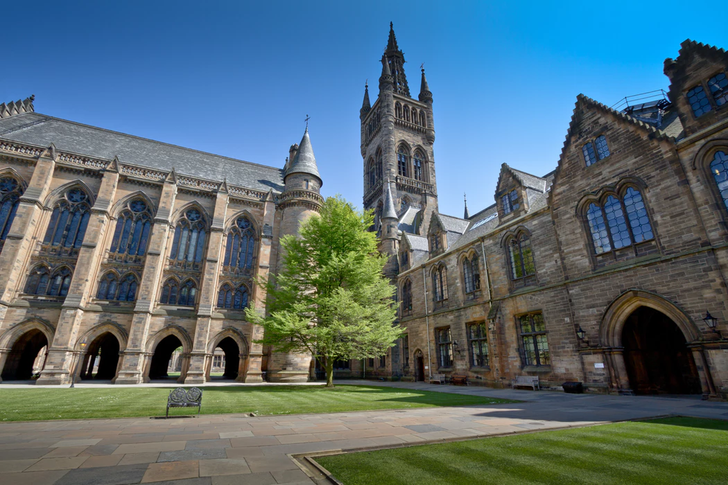 historical buildings on a sunny day at University of Glasgow