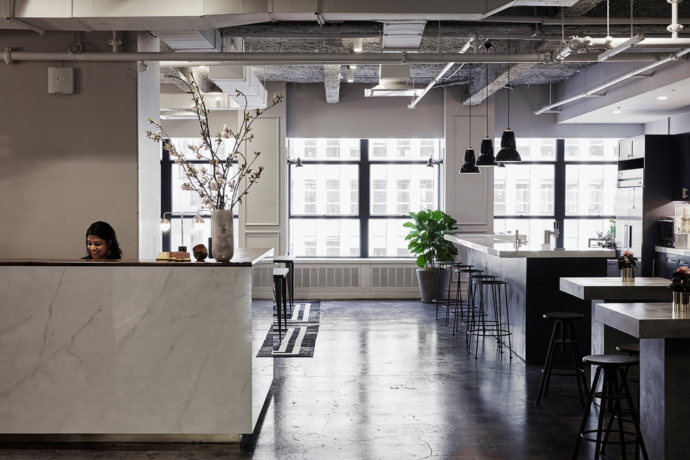 reception area of modern industrial coworking space