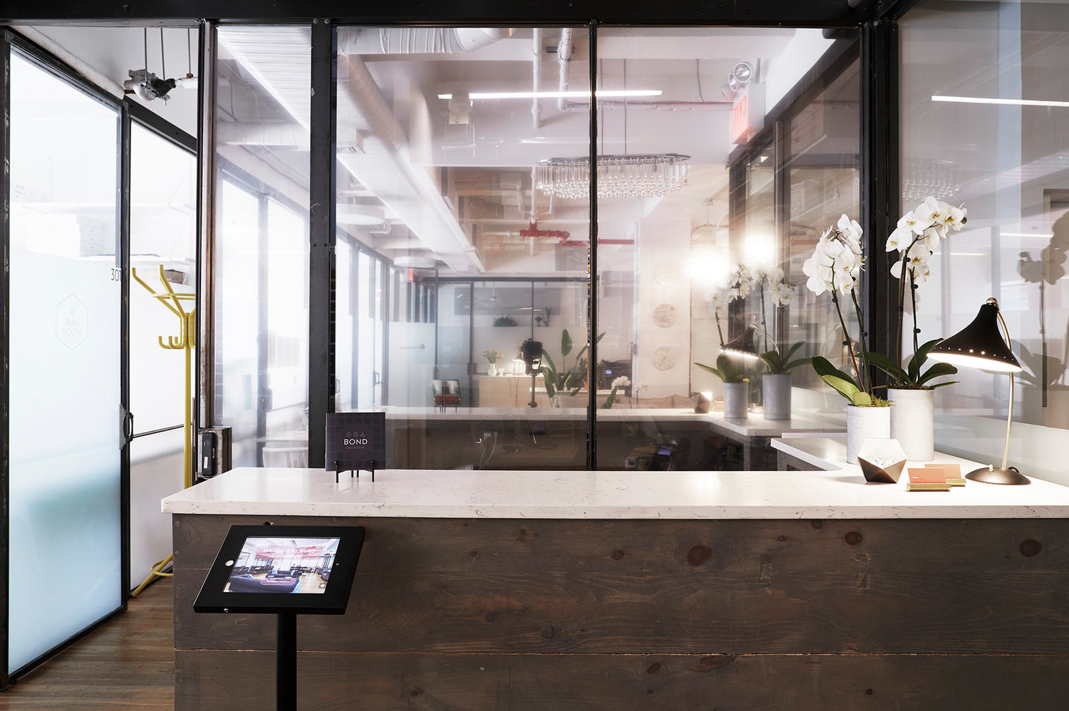 entry area of bond collective shared coworking and open office plan spaces