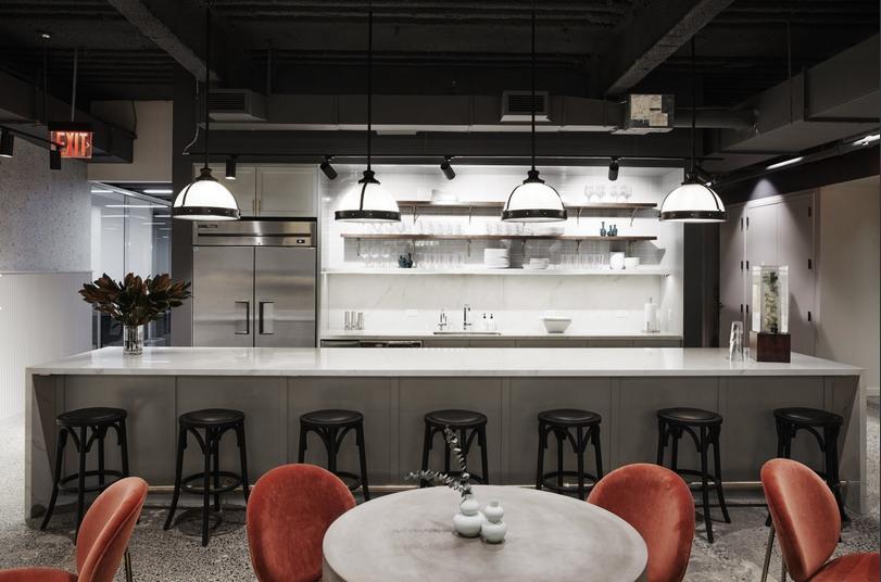 Shared kitchen in a collaborative workspace
