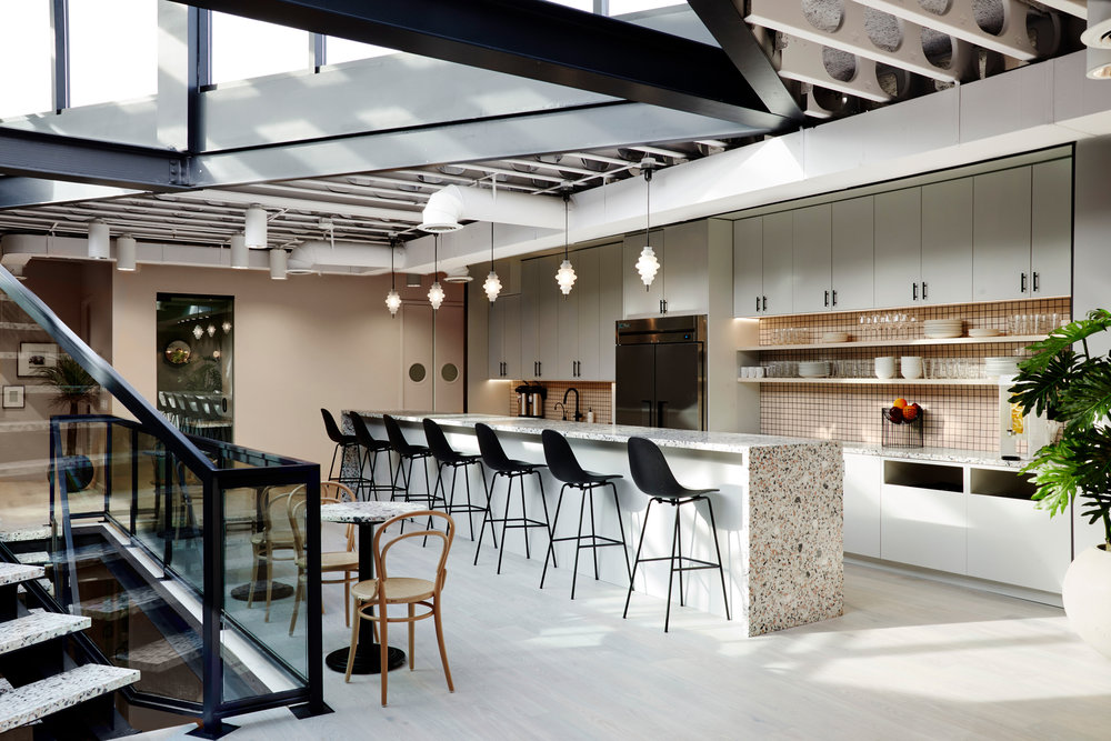 Kitchen area and bar in a shared office space