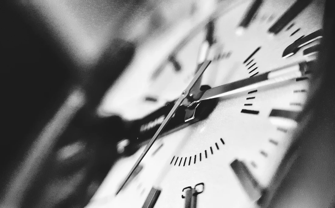 Black and white image of a clock