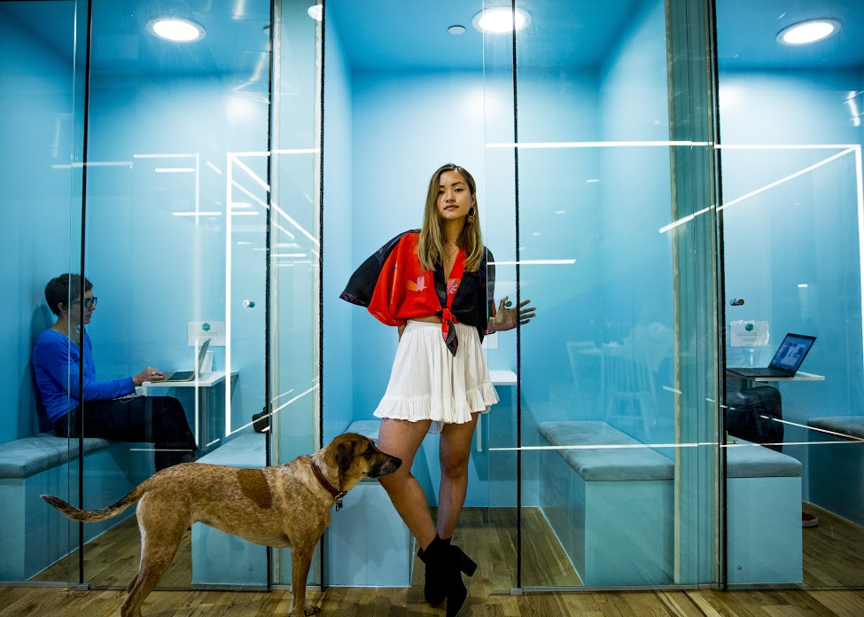 Woman standing in an office in front of a pet
