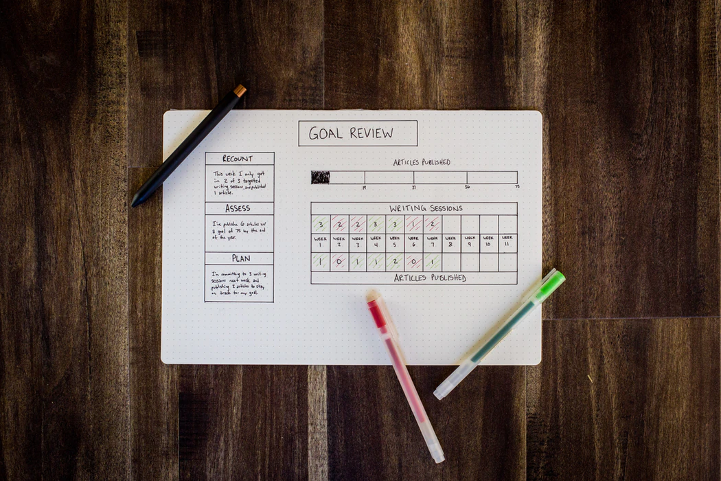 Goal review chart on a wooden desk with pens