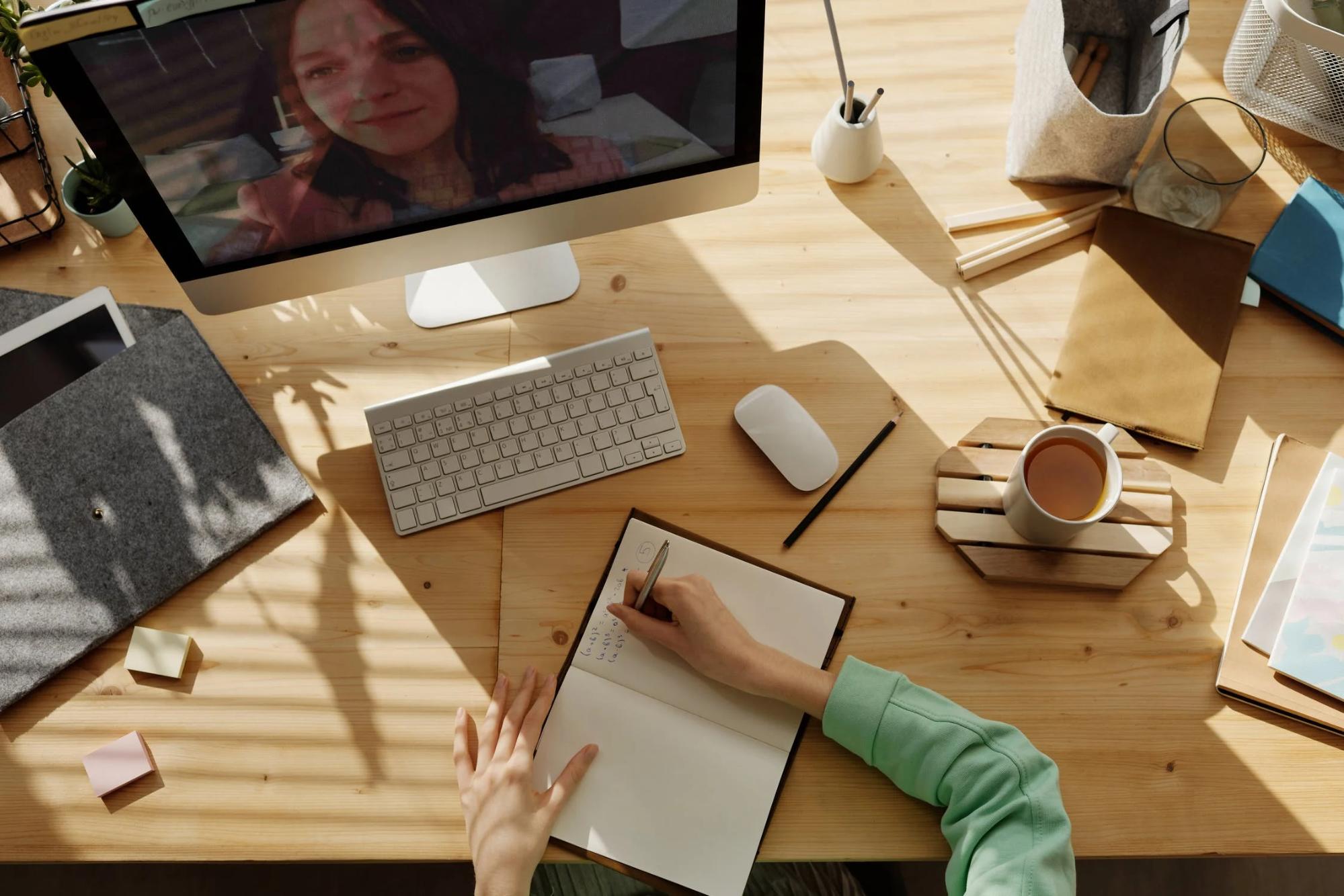 employee having a virtual meeting