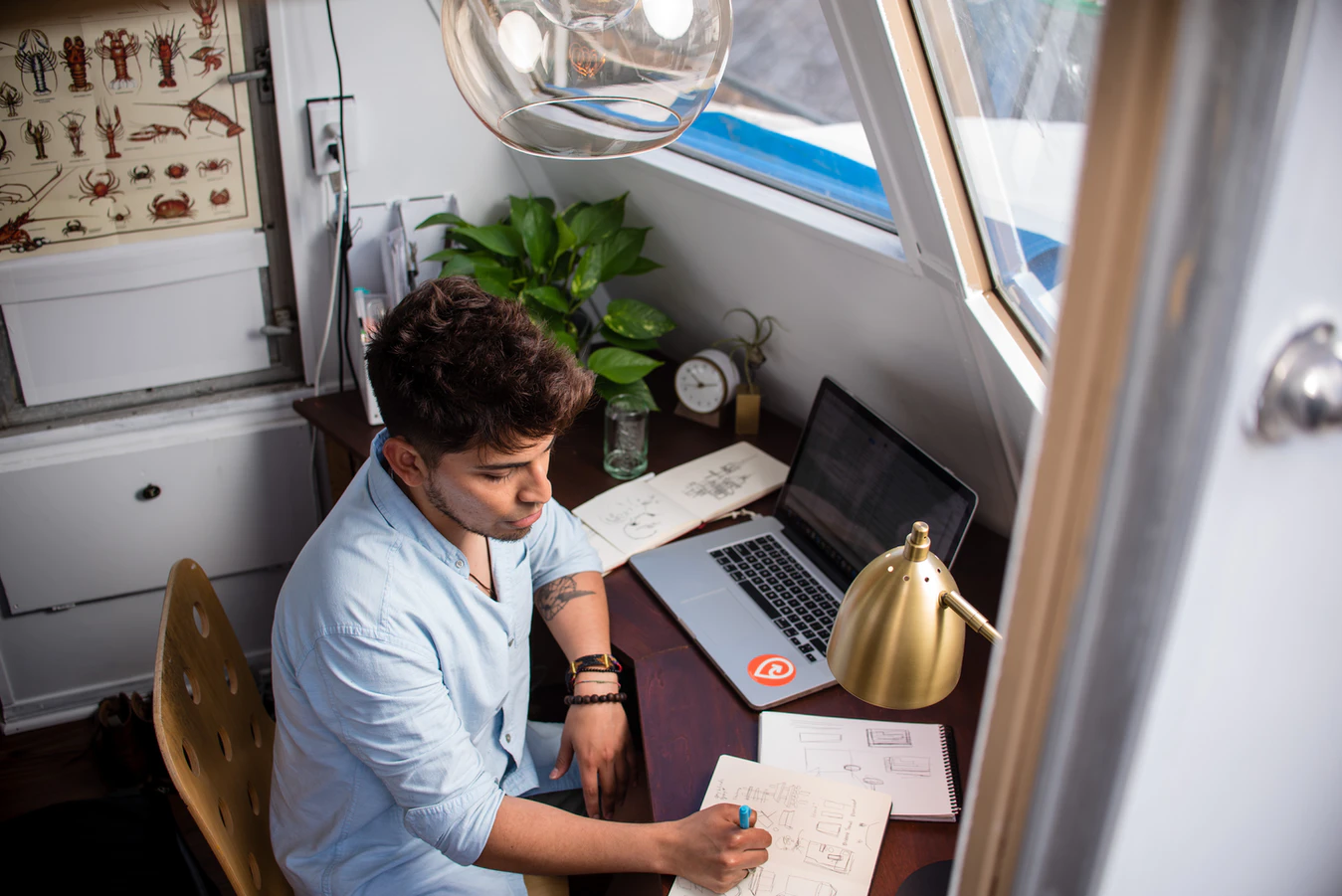 Employee showing how to work from home productively