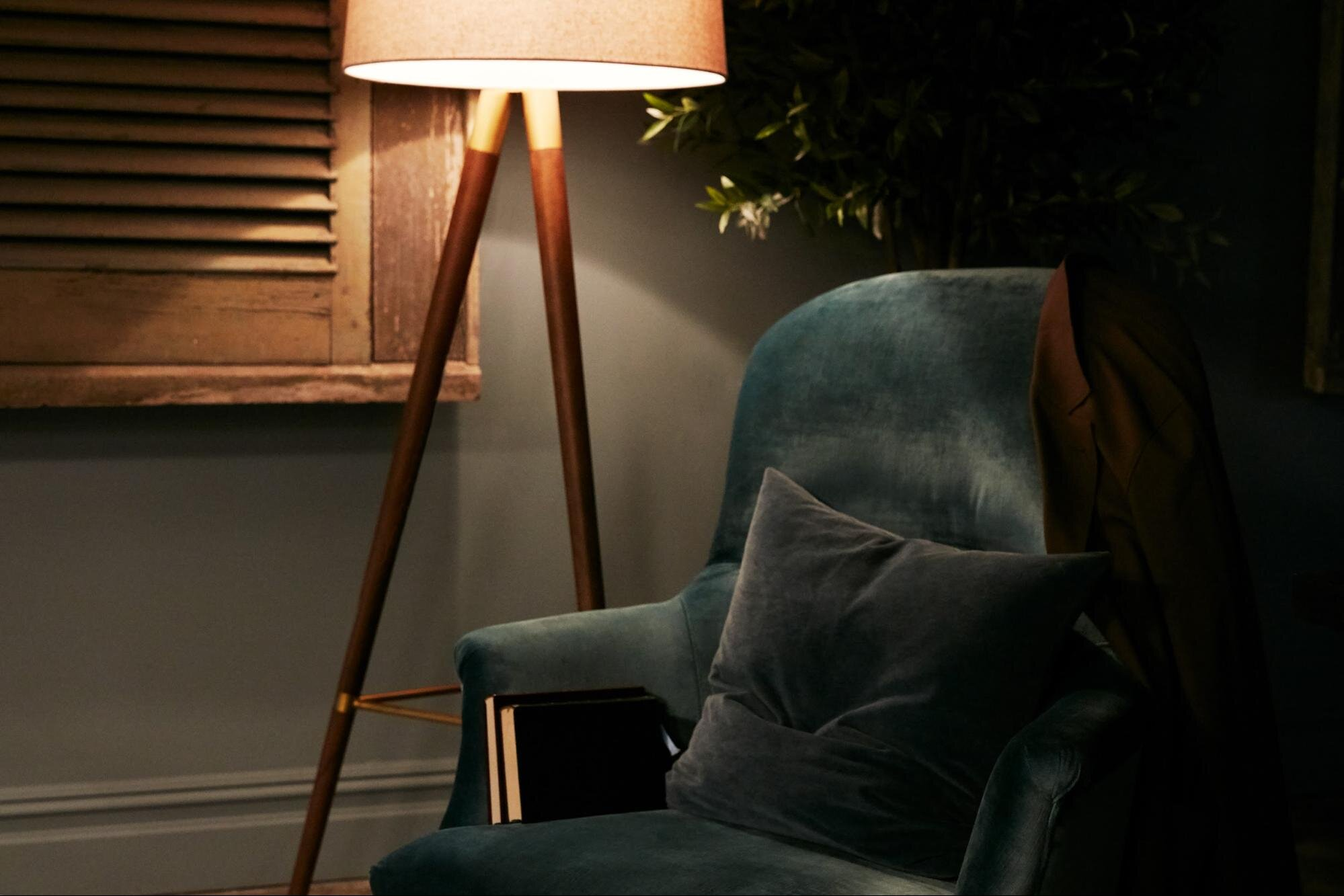 A couch and lamp in a work from home space