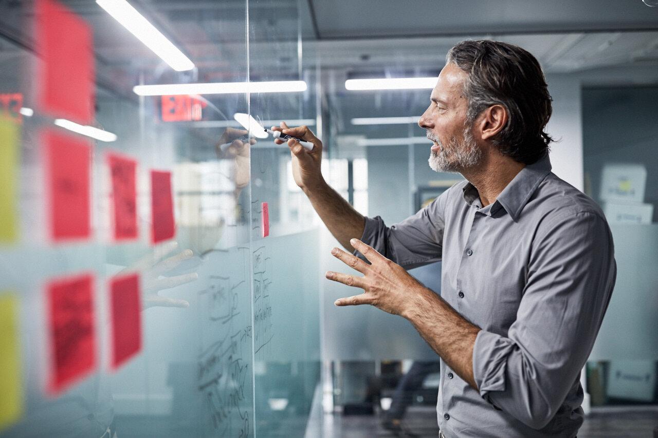Man working in flexible workspace