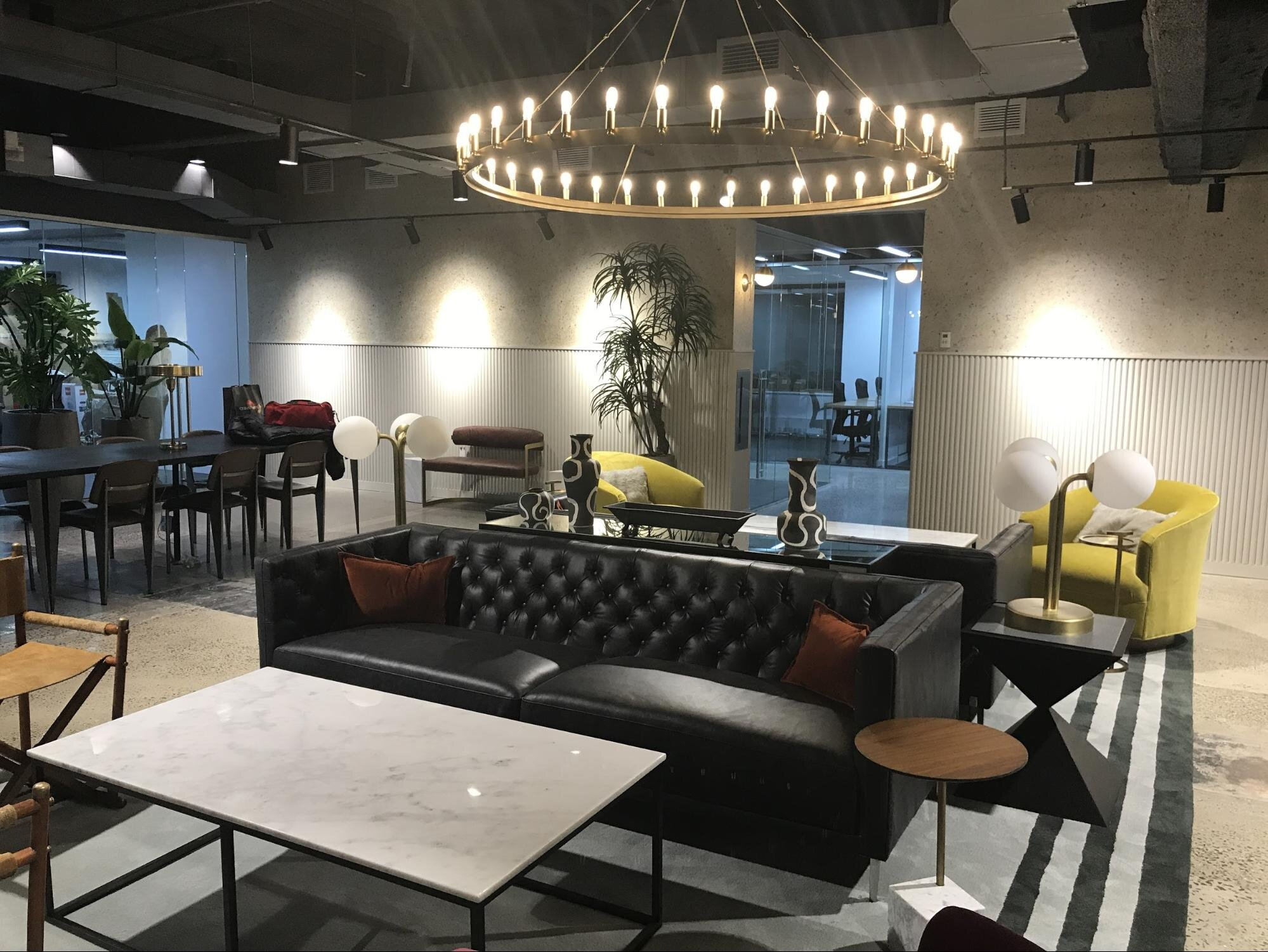 office layout and decor of coworking space