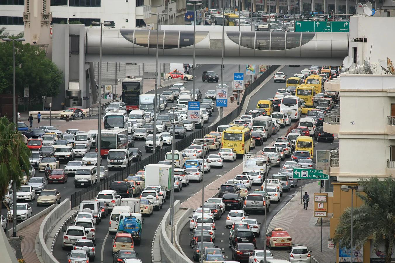 daytime freeway commuter traffic