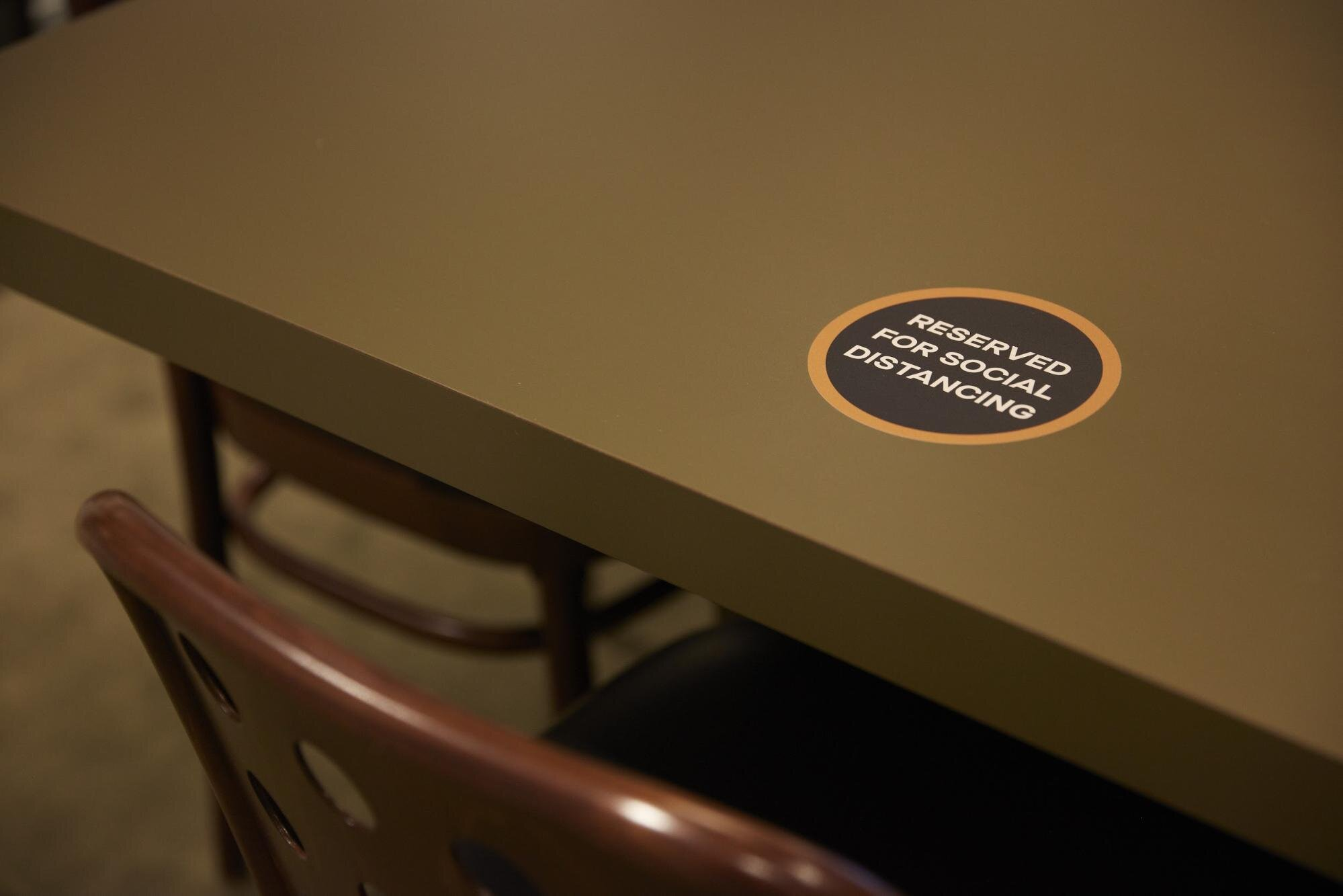 sticker for reserved social distancing for social distancing in the workplace
