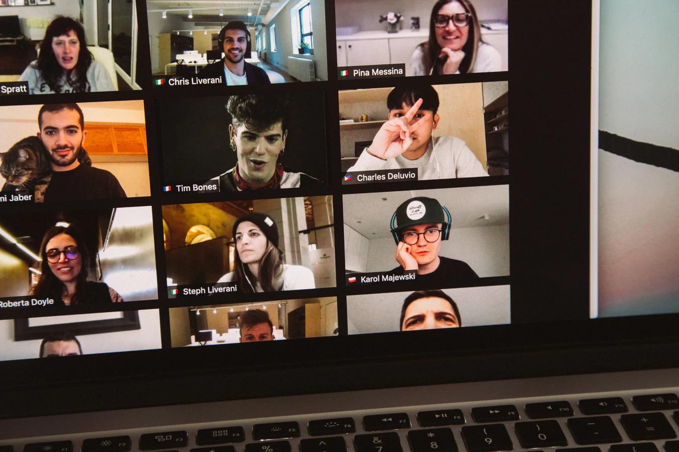 Screen shot of employees doing virtual happy hour games