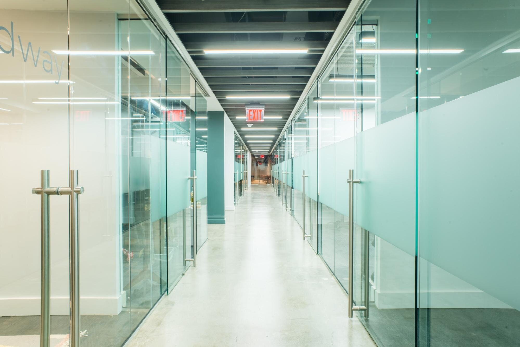 down the hallway of an office space