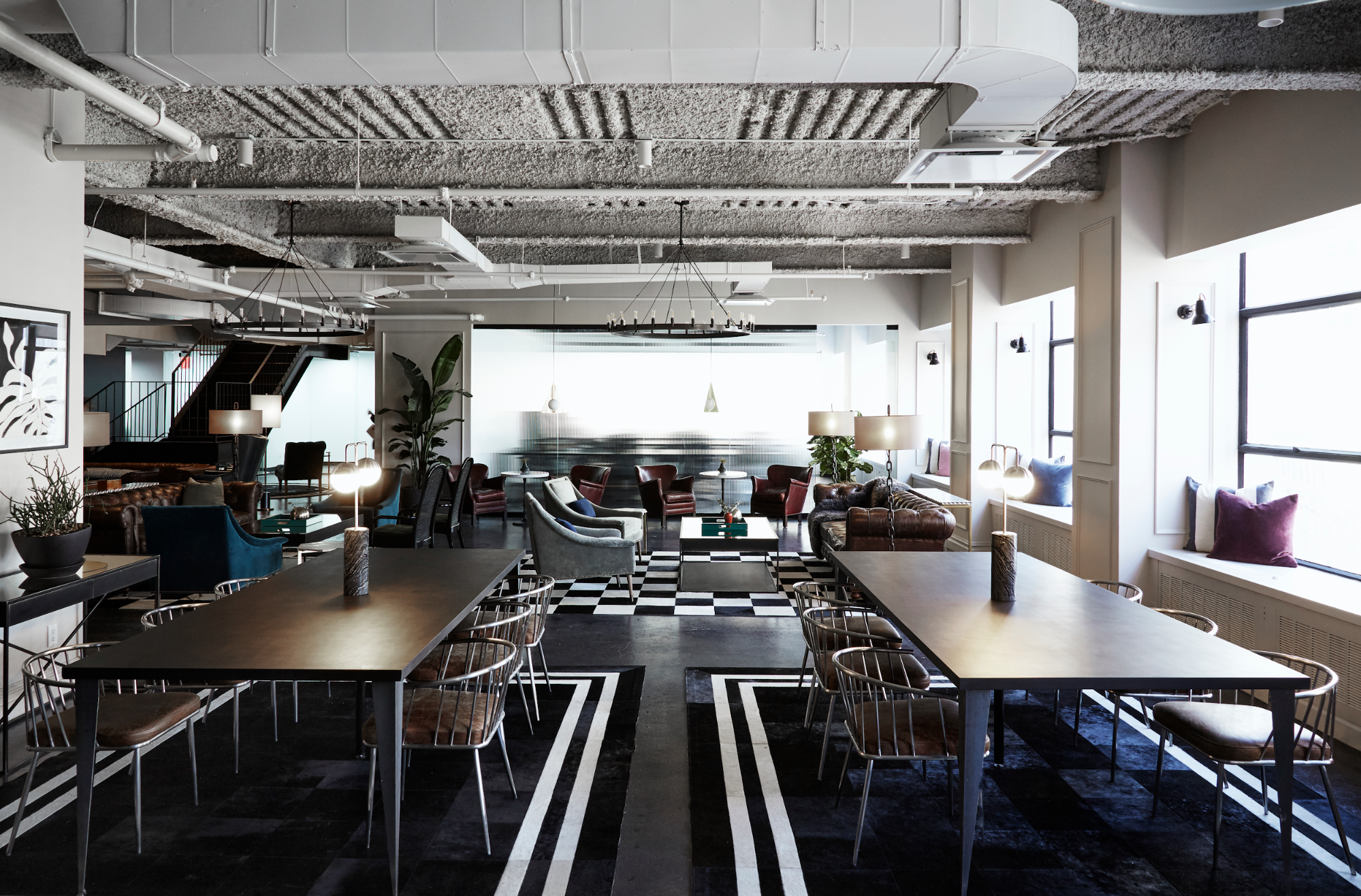 Inside an empty coworking space
