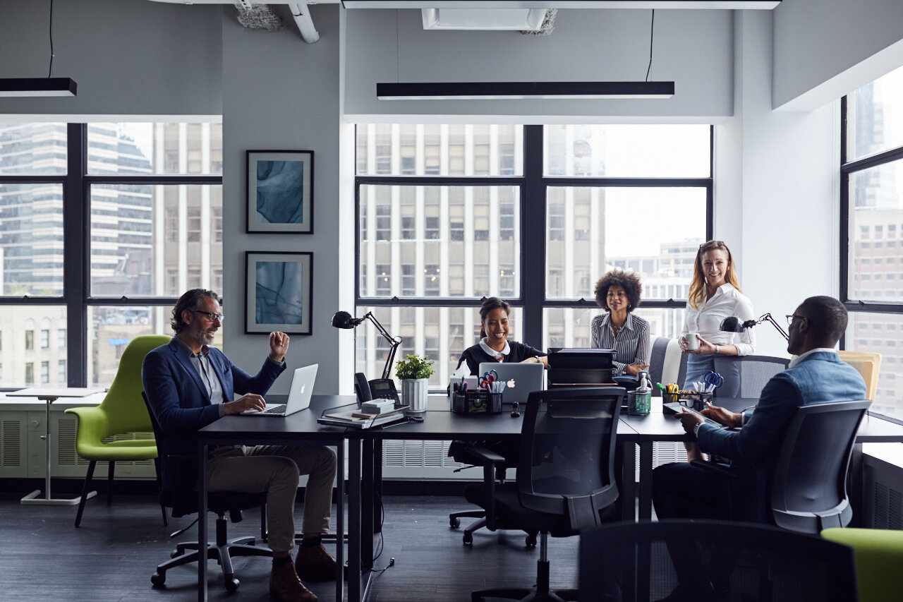 Employees in office having a meeting