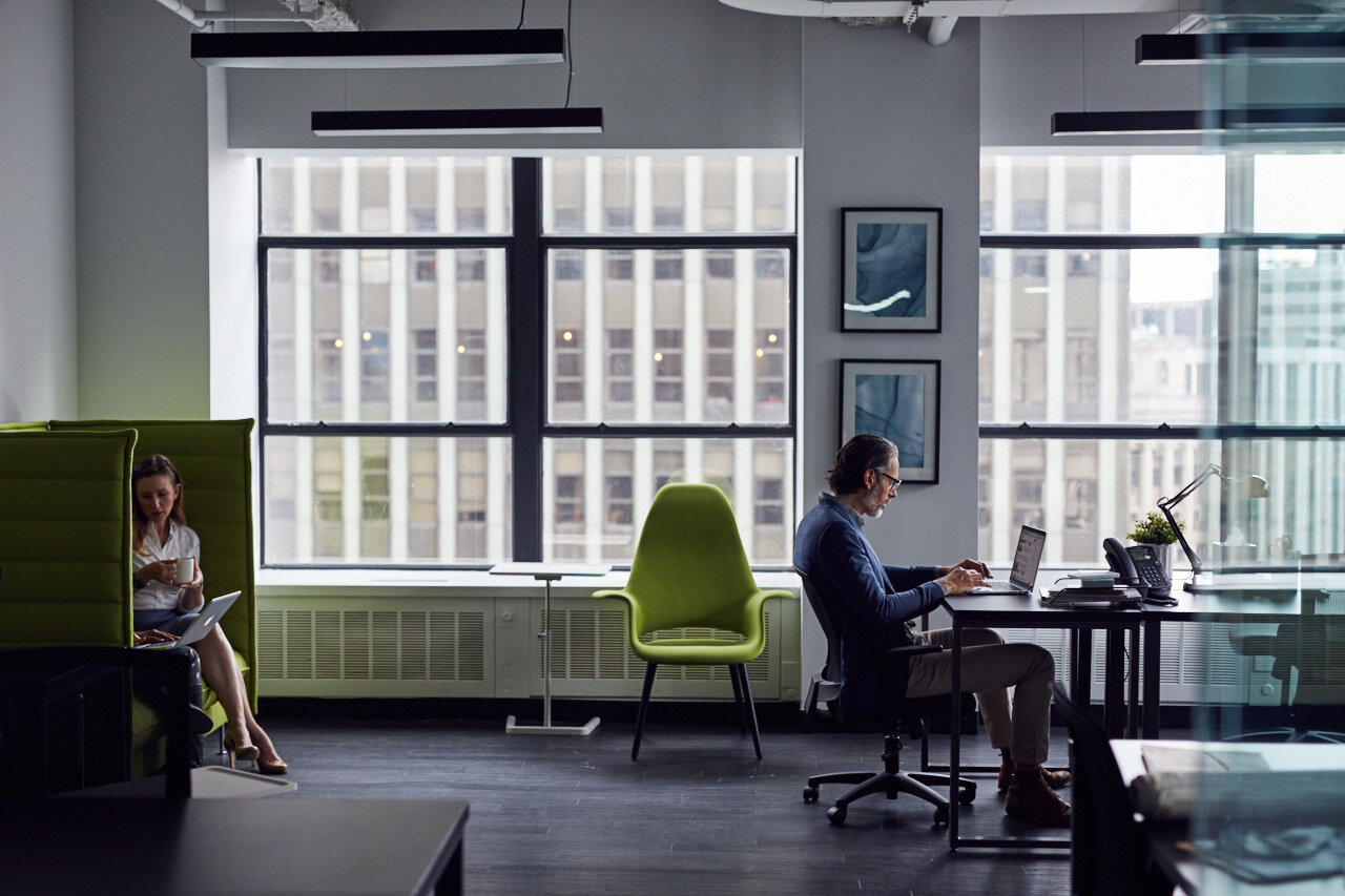 Man working in coworking space