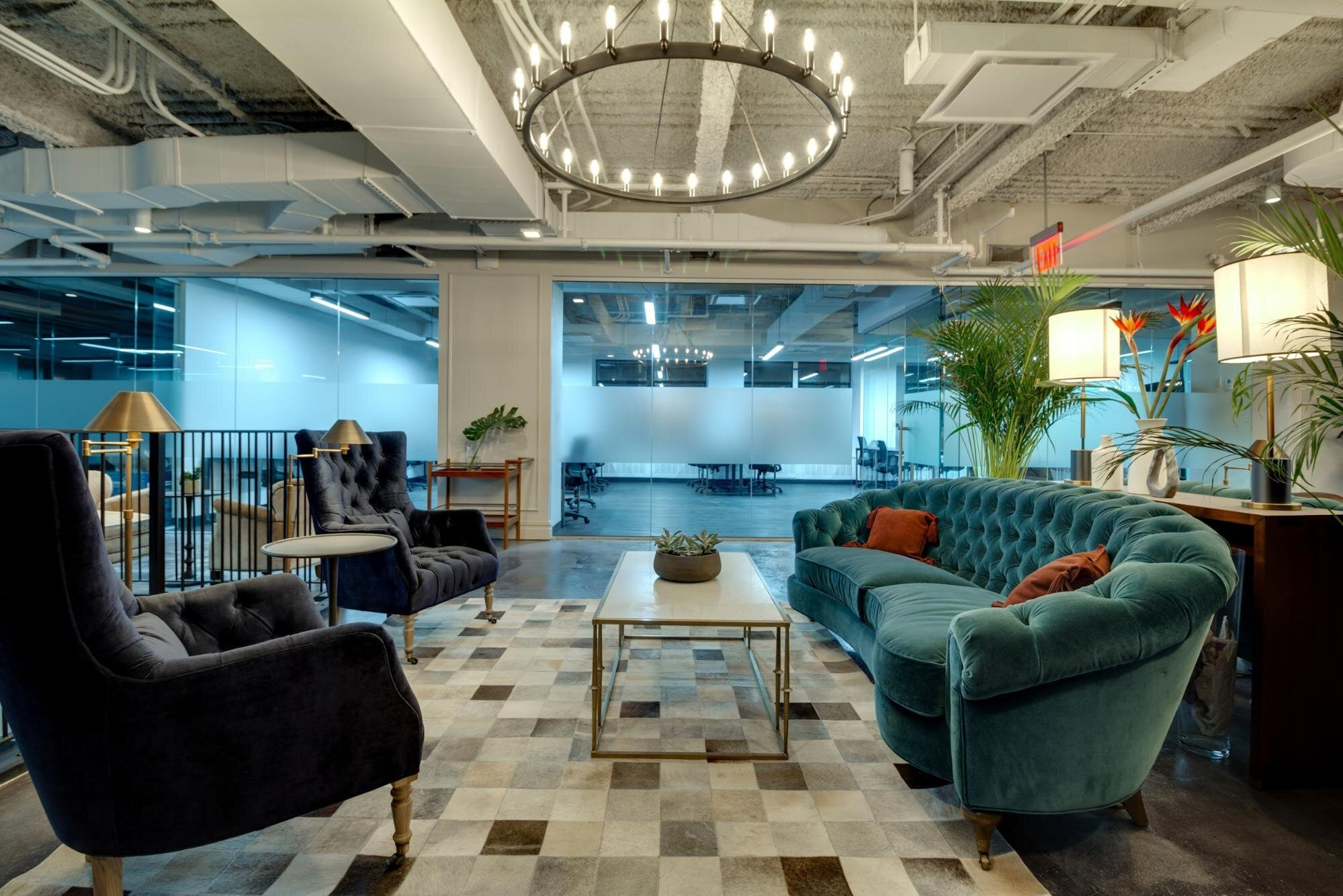 hybrid workplace casual hang out space with couch and coffee table