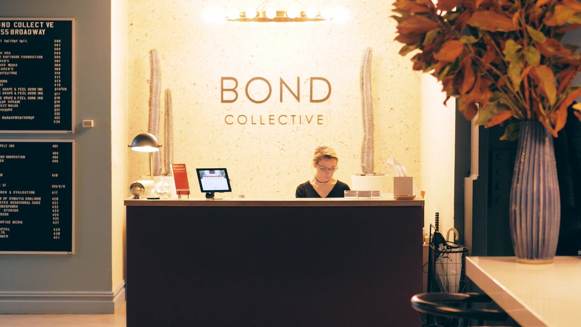 Receptionist at Bond Collective hybrid workplace