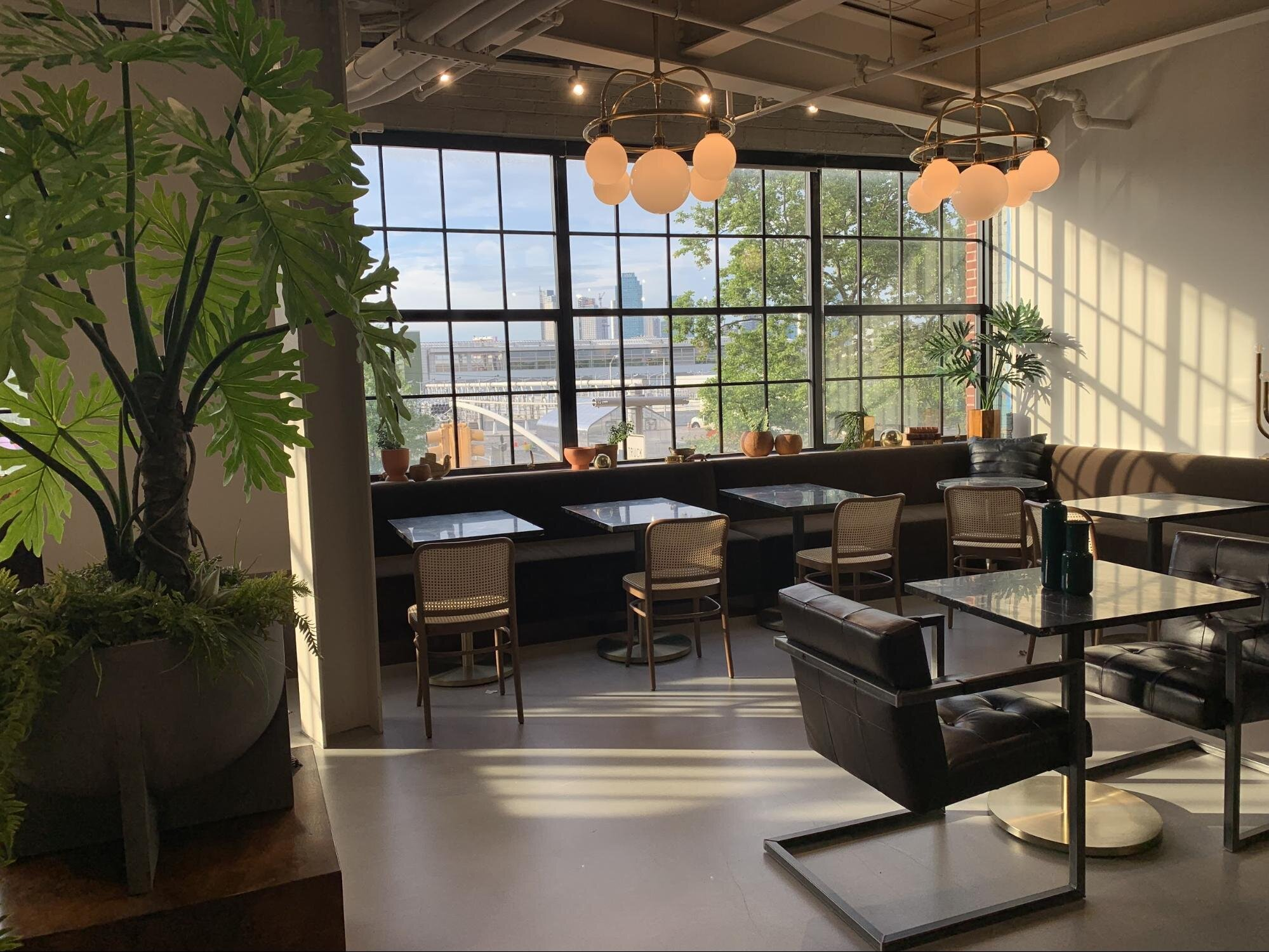 flexible office space with cafe tables