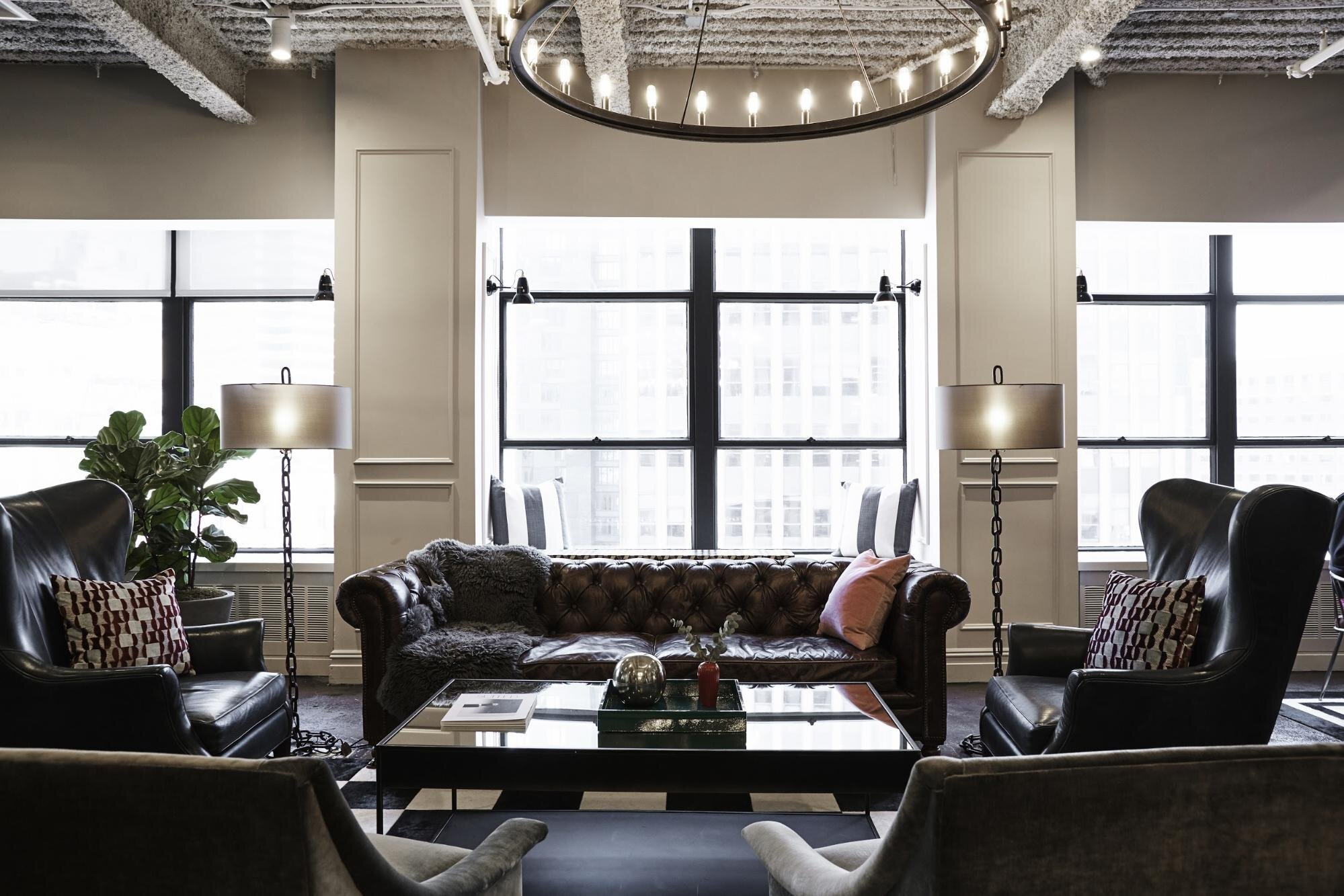 Office space with leather couches