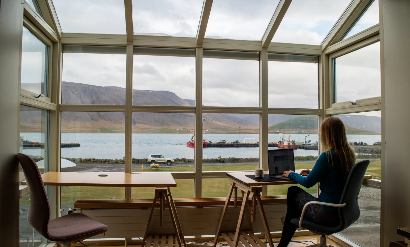 Women enjoying the view and the opportunity to work from anywhere