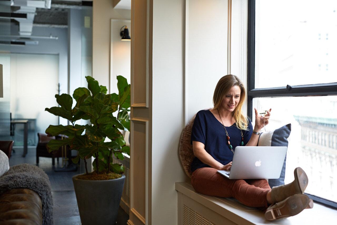 Woman attending virtual team building activities