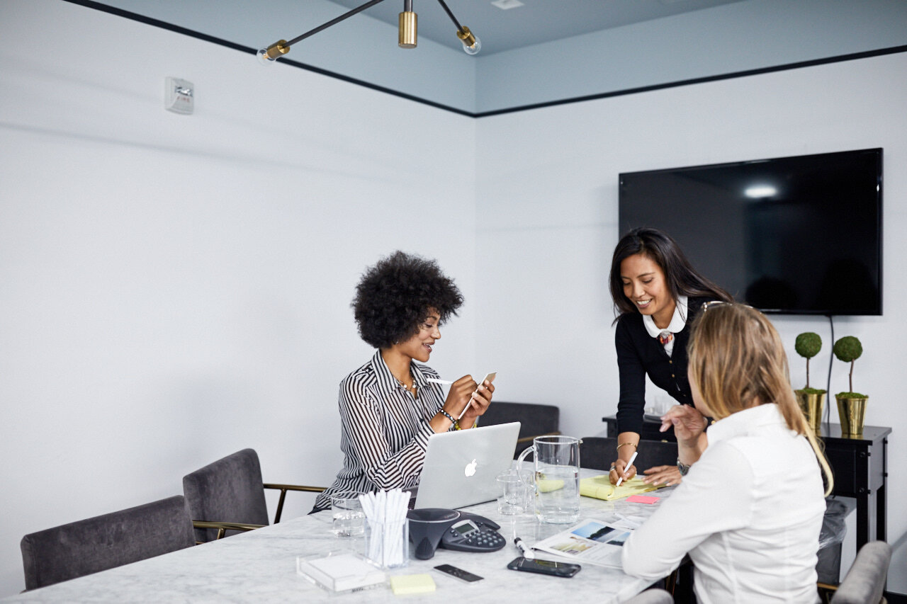 Team members working in innovation space