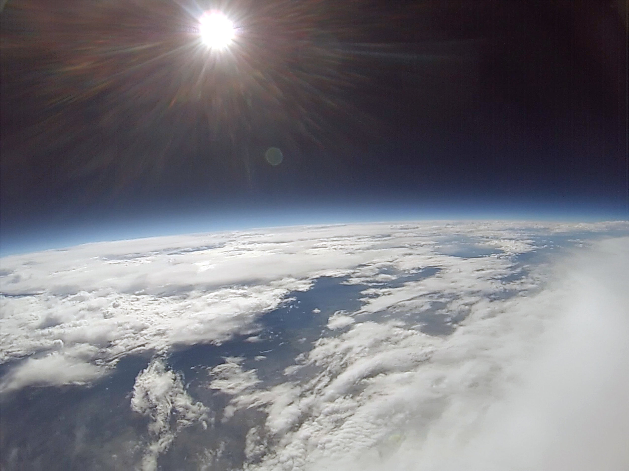 A frame grabbed from the GoPro video from an altitude of around 50,000 feet.