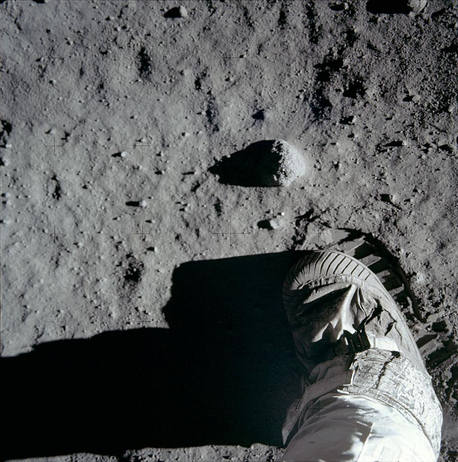 Lunar regolith underfoot during the Apollo 17 mission to the moon.