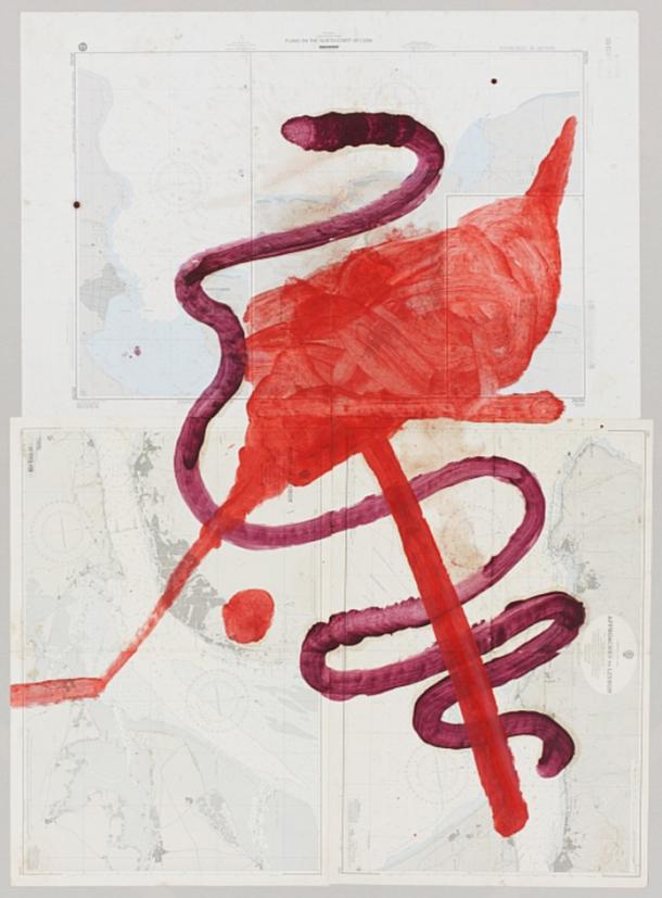 Julian Schnabel,  Port of Lisbon  2010 84 1/2 x 64 in Oil on map