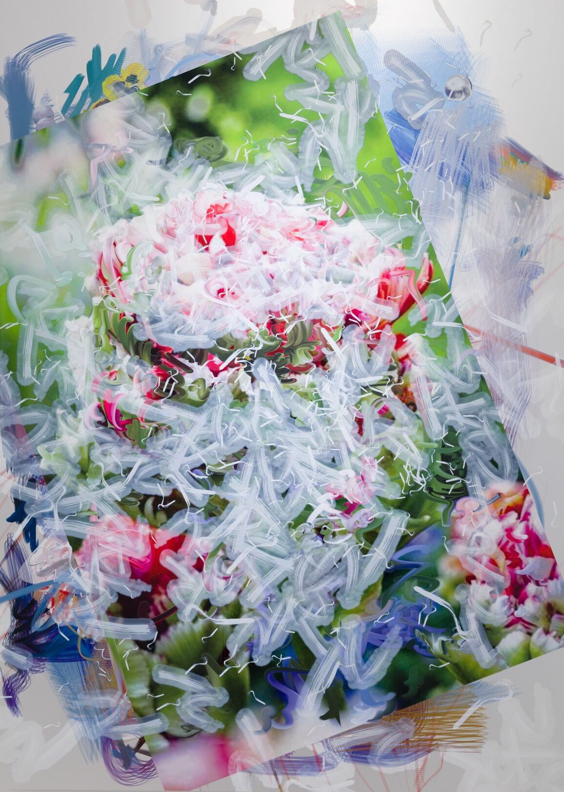 """Petra Cortright,  426 HEMI """"aargh definition""""""""blue trail range""""  2019 68 x 48 in Digital painting on anodized aluminum"""