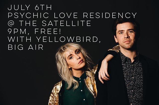 We are so excited to join our friends @psychic_love on their Residency at The Satellite on July 6th! Our pal @yellowbirddd is playing too and we're playing some new tunes for the very first time! IT'S GONNA BE A PARTY!!!! ✨🌈✨ 📷@jamiearrigo