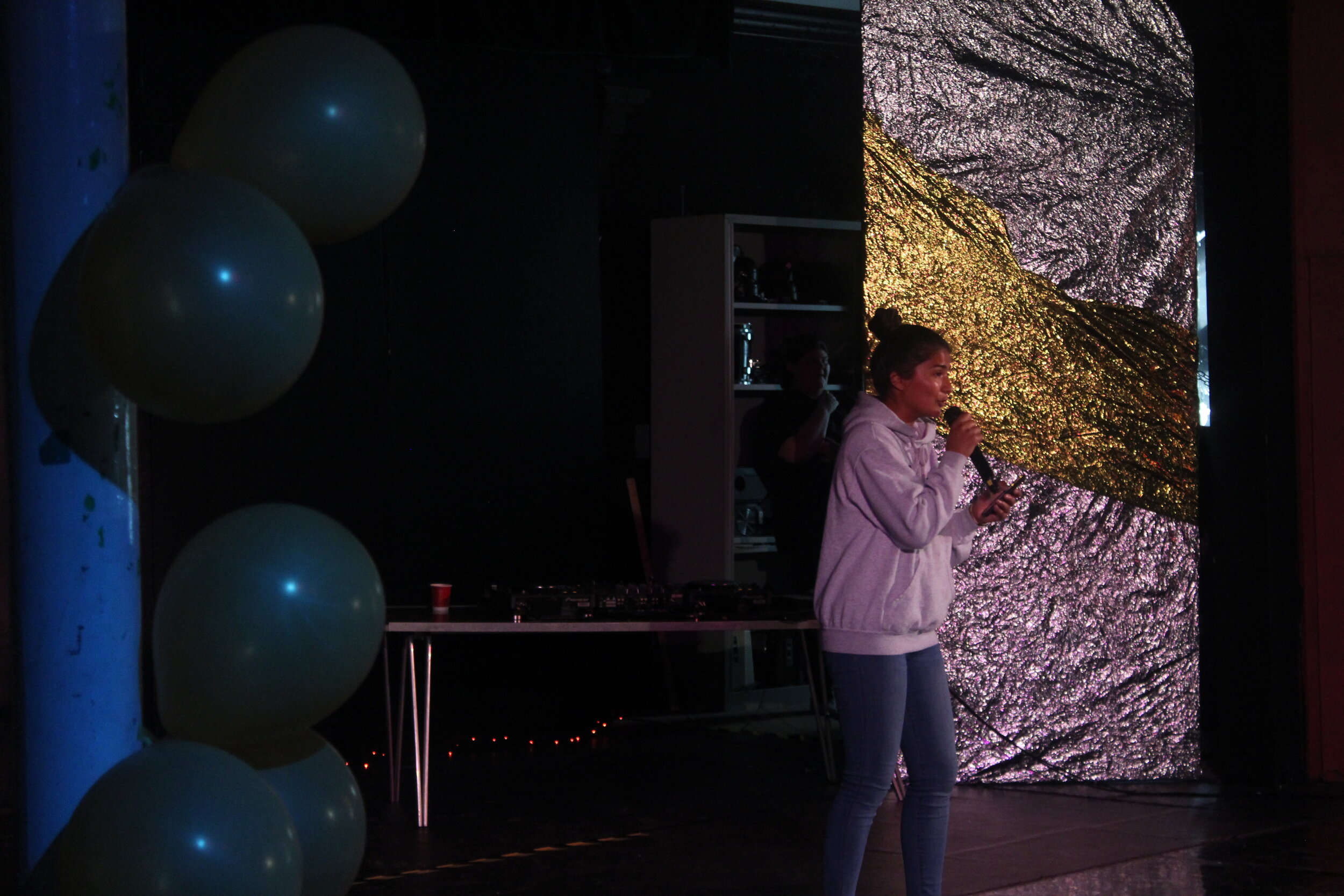 Sabrina Islam performed a spoken-word piece to an ambient backing track beat which got the audience still and silent!