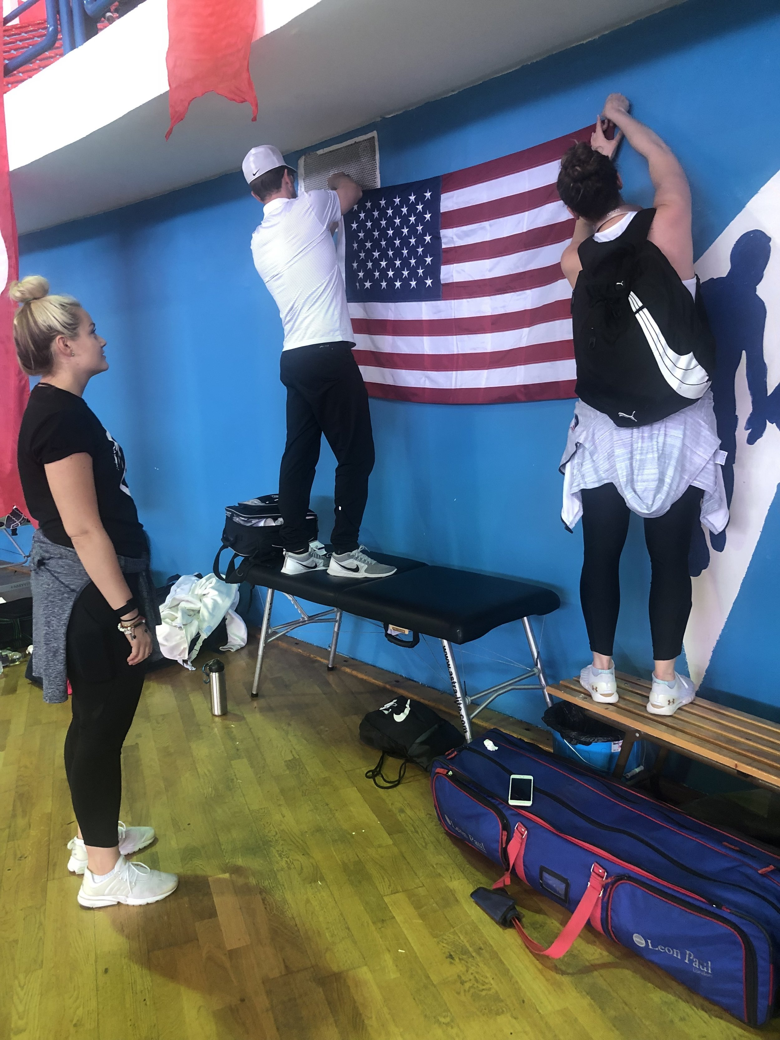 Team USA setting up our warm up area