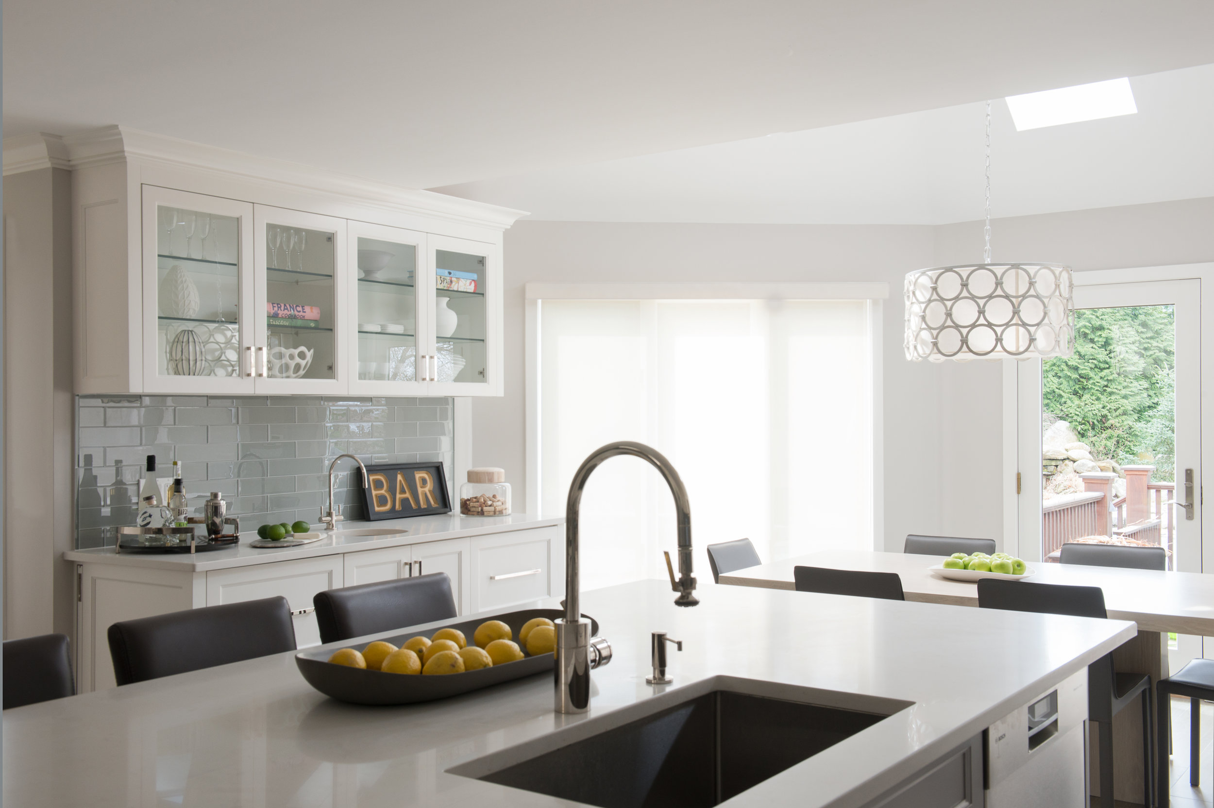 KITCHEN ISLAND AND GLASS CABINETS