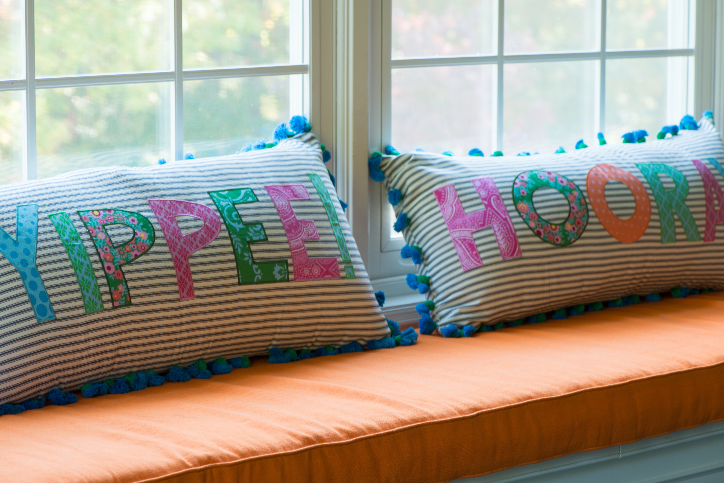 WINDOW SEAT PILLOWS - FUN AND COLORFUL