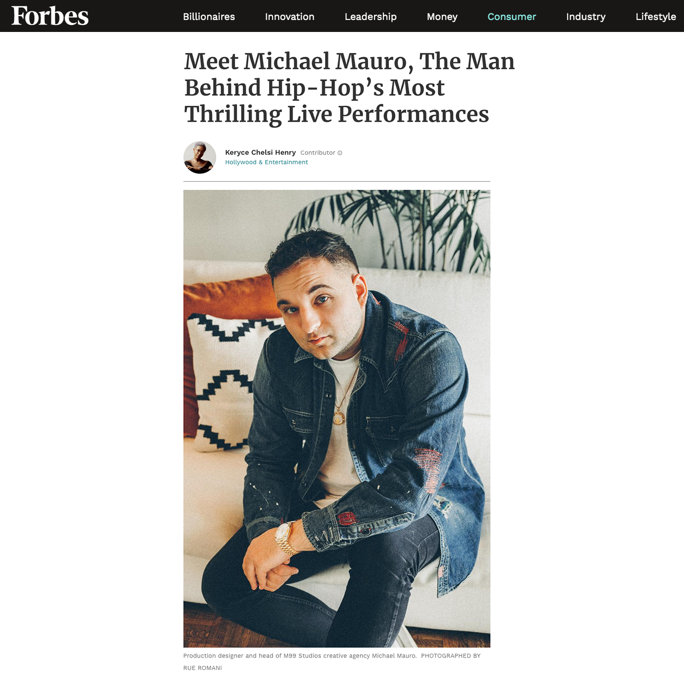 Forbes Magazine - Meet Michael Mauro, The Man Behind Hip-Hop's Most Thrilling Live Performances