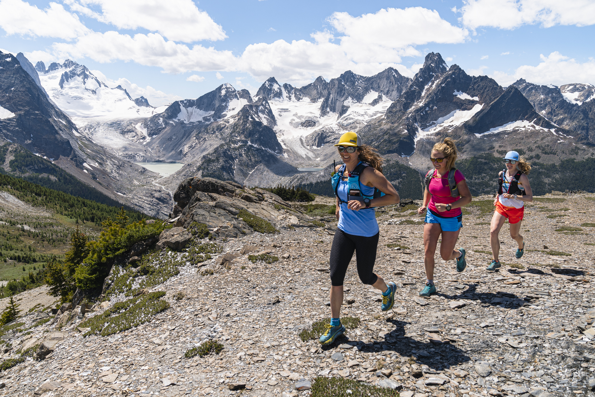 Guide Emily Compton on one of our Bugaboo Heli Alpine Running trips