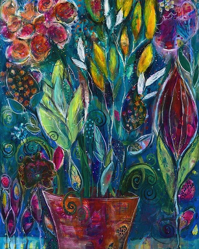 "Thrilled to announce Doreen Koch Allen has won the #WestSeattleGardenTour 2018 art competition with her piece, ""Garden Fantasia."" Congrats, Doreen! #WestSeattle #gardenart #instagardenlovers"
