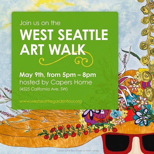 You are invited! Join us on the @wsartwalk to recognize the West Seattle Garden Tour Art Competition finalists, May 9th at 6pm, hosted by @capershome. Additional works by the winner and finalists will be on display alongside their competition submissions. Hope to see you there! #westseattleartwalk #westseattlejunction #westseattlegardentour #westseattle  #art