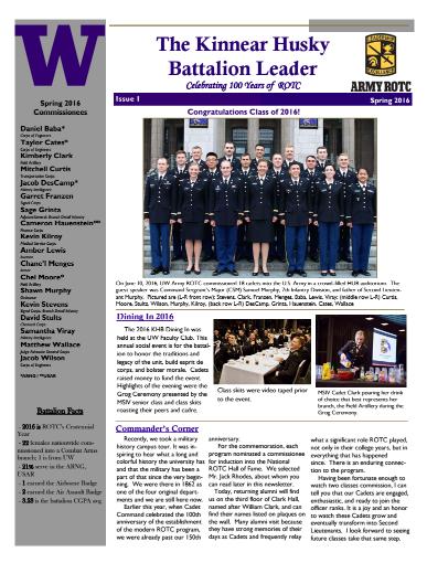 UW AROTC Newsletter - Spring 2016