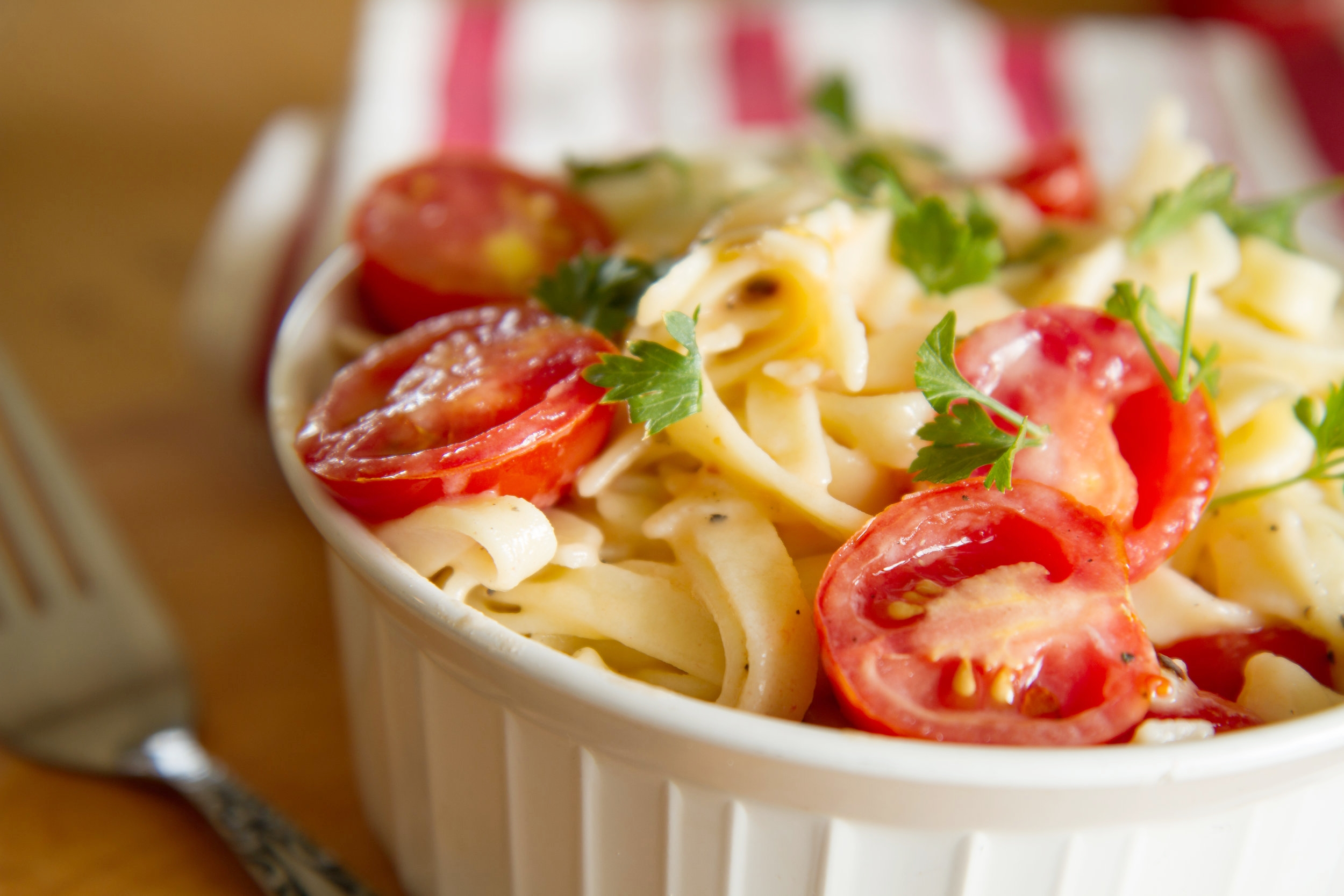 Egg linguine with summer tomatoes and butter sauce.